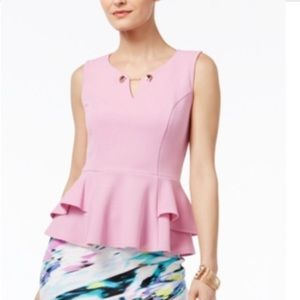 Thalia Sodi Pink and Gold Stretch Peplum Top